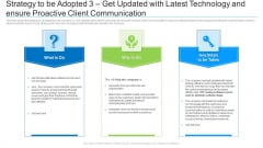 Strategy To Be Adopted 3 Get Updated With Latest Technology And Ensure Proactive Client Communication Icons PDF