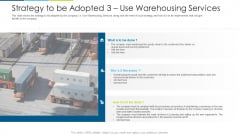 Strategy To Be Adopted 3 Use Warehousing Services Ppt Infographics Display PDF