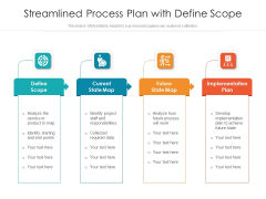 Streamlined Process Plan With Define Scope Ppt PowerPoint Presentation Styles Themes PDF