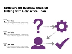 Structure For Business Decision Making With Gear Wheel Icon Ppt PowerPoint Presentation Pictures Icon PDF