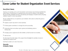 Student Club Event Planning Cover Letter For Student Organization Event Services Ppt Pictures Icon PDF