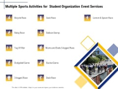 Student Club Event Planning Multiple Sports Activities For Student Organization Event Services Icons PDF