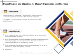 Student Club Event Planning Project Context And Objectives For Student Organization Event Services Topics PDF