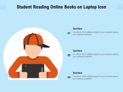 Student Reading Online Books On Laptop Icon Ppt PowerPoint Presentation Gallery Background Images PDF