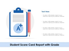 Student Score Card Report With Grade Ppt PowerPoint Presentation Pictures Example Introduction PDF