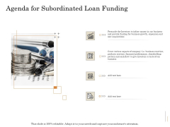 Subordinated Loan Funding Agenda For Subordinated Loan Funding Ppt Icon Background Image PDF