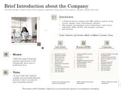 Subordinated Loan Funding Brief Introduction About The Company Ppt Outline Clipart PDF