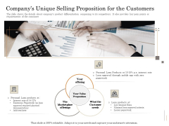 Subordinated Loan Funding Companys Unique Selling Proposition For The Customers Ppt Slides Shapes PDF