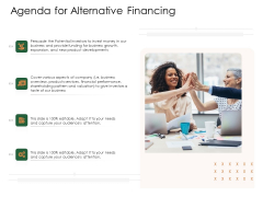 Substitute Financing Pitch Deck Agenda For Alternative Financing Elements PDF