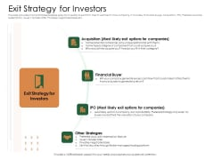 Substitute Financing Pitch Deck Exit Strategy For Investors Microsoft PDF