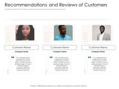 Substitute Financing Pitch Deck Recommendations And Reviews Of Customers Formats PDF