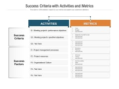 Success Criteria With Activities And Metrics Ppt PowerPoint Presentation File Styles PDF