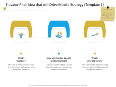 Successful Mobile Strategies For Business Elevator Pitch Idea That Will Drive Mobile Strategy Vision Structure PDF