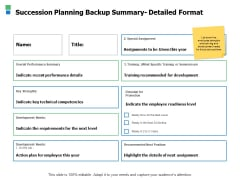 Succession Planning Backup Summary Detailed Format Ppt Powerpoint Presentation Ideas Graphics Design