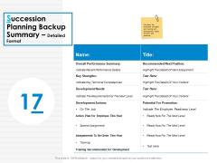 Succession Planning Backup Summary Detailed Format Ppt PowerPoint Presentation Model Show