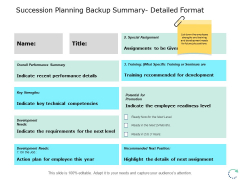 Succession Planning Backup Summary Detailed Format Ppt PowerPoint Presentation Pictures Influencers