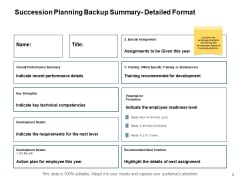 Succession Planning Backup Summary Detailed Format Ppt PowerPoint Presentation Portfolio Slideshow