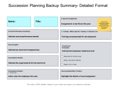 Succession Planning Backup Summary Detailed Format Slide Analysis Ppt PowerPoint Presentation Slides Visuals
