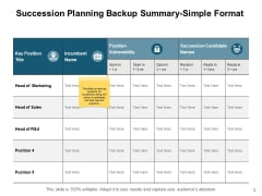 Succession Planning Backup Summary Simple Format Ppt PowerPoint Presentation File Clipart Images