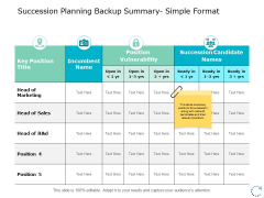Succession Planning Backup Summary Simple Format Ppt PowerPoint Presentation Infographics Design Ideas