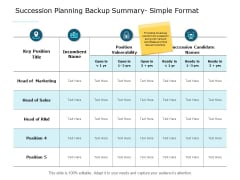 Succession Planning Backup Summary Simple Format Ppt PowerPoint Presentation Layouts Good