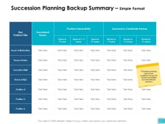 Succession Planning Backup Summary Simple Format Ppt PowerPoint Presentation Professional Icons