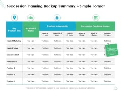 Succession Planning Backup Summary Simple Format Ppt PowerPoint Presentation Styles Grid