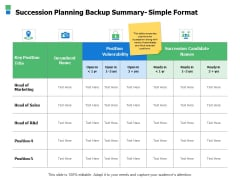 Succession Planning Backup Summary Simple Format Ppt Powerpoint Presentation Styles Visuals