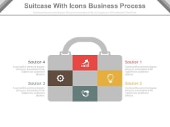Suitcase Infographic With Business Strategy Icons Powerpoint Template