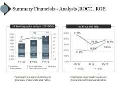 Summary Financials Analysis Roce Roe Ppt PowerPoint Presentation Icon Example
