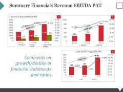Summary Financials Revenue Ebitda Pat Ppt PowerPoint Presentation Ideas Files