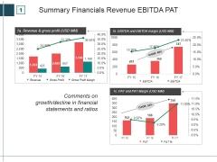 Summary Financials Revenue Ebitda Pat Ppt PowerPoint Presentation Portfolio Designs