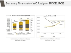 Summary Financials Wc Analysis Roce Roe Ppt PowerPoint Presentation Templates