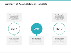 Summary Of Accomplishments Template 2017 To 2019 Ppt PowerPoint Presentation Infographics Templates
