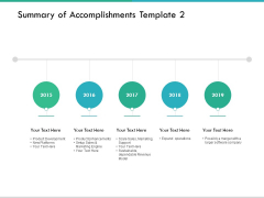Summary Of Accomplishments Template Five Years Ppt PowerPoint Presentation Icon Guide