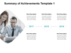 Summary Of Achievements Template Three Years Ppt PowerPoint Presentation Icon Example Introduction
