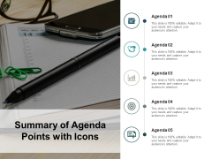 Summary Of Agenda Points With Icons Ppt PowerPoint Presentation Infographics Slideshow