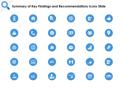 Summary Of Key Findings And Recommendations Icons Slide Target Ppt PowerPoint Presentation Slides Graphics Template