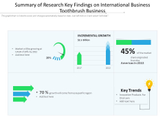 Summary Of Research Key Findings On International Business Toothbrush Business Ppt PowerPoint Presentation File Example Introduction PDF