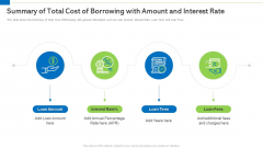 Summary Of Total Cost Of Borrowing With Amount And Interest Rate Amount Background PDF