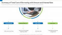 Summary Of Total Cost Of Borrowing With Amount And Interest Rate Information PDF