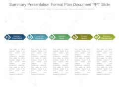 Summary Presentation Formal Plan Document Ppt Slide