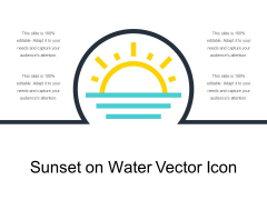 Sunset On Water Vector Icon Ppt PowerPoint Presentation Gallery Guide PDF