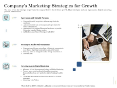 Supplementary Debt Financing Pitch Deck Companys Marketing Strategies For Growth Designs PDF