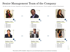 Supplementary Debt Financing Pitch Deck Senior Management Team Of The Company Themes PDF