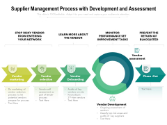 Supplier Management Process With Development And Assessment Ppt PowerPoint Presentation Styles Slides PDF