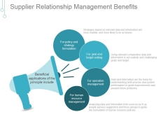 Supplier Relationship Management Benefits Ppt PowerPoint Presentation Example