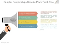 Supplier Relationships Benefits Ppt PowerPoint Presentation Ideas