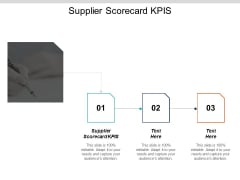 Supplier Scorecard Kpis Ppt PowerPoint Presentation Professional Slide Cpb