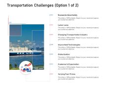 Supply Chain Logistics Transportation Challenges Option Technologies Ppt Infographic Template Deck PDF
